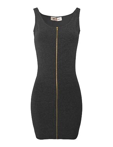 Tom's Ware Women Slim Fit Zip Up Bodycon Mini Dress