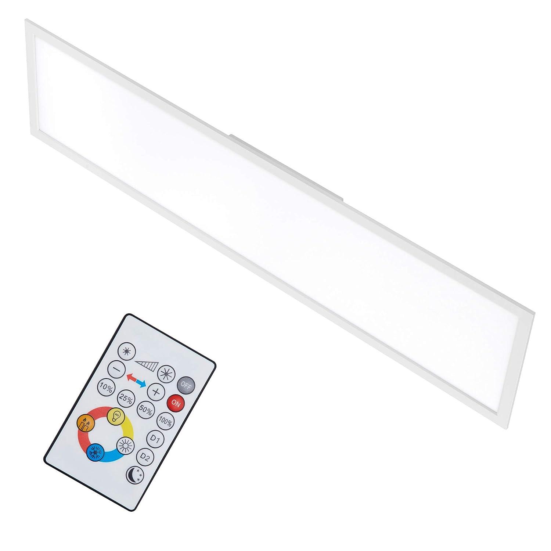 Briloner Leuchten - LED Deckenleuchte-Panel, dimmbar, Farbtemperatursteuerung, Fernbedienung, 36W, 3800 lm, LED-Lampe, Deckenlampe, weiß, 1.20 m [Energieklasse A+] weiß 7196-016