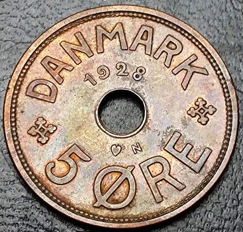 Unbranded 1928 Denmark 5 ORE Bronze Coin KM# 828.2XF+ Condition
