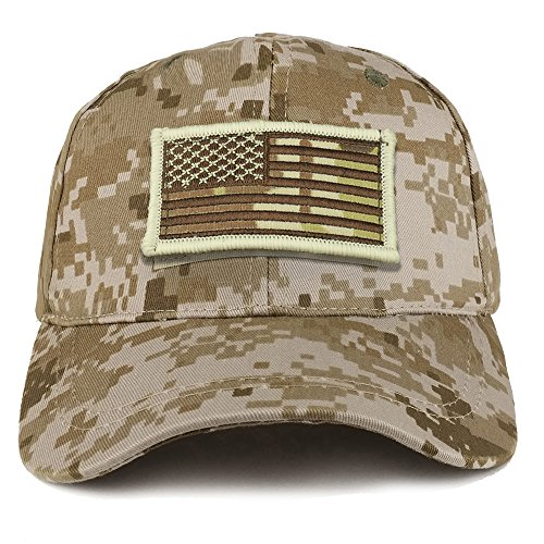 Trendy Apparel Shop Youth Military Camo Combat American Flag Patch On Tactical Cap - (Youth Mid Profile Camo Cap)