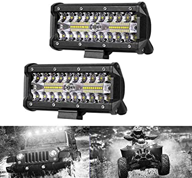 "2X 7/"" 400W LED Work Light Bar Flood Spot Beam Offroad 4WD SUV Driving Fog Lamp"