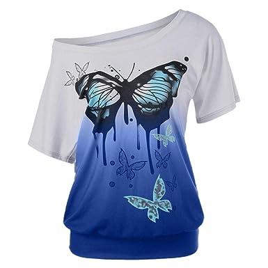 7b8e8f6ba8c2 Yvelands Damen Sommer Große Größe Frauen Schmetterling Druck T-Shirt  Kurzarm Tops Bluse  Amazon.de  Bekleidung