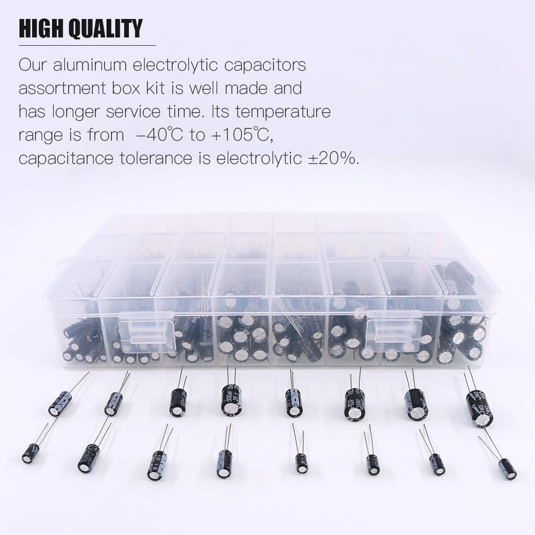 Rustark 405Pcs 24 Value 10V 16V 25V 50V Aluminum Electrolytic Capacitor Assortment Box Kit Range 0.1uF-1000uF