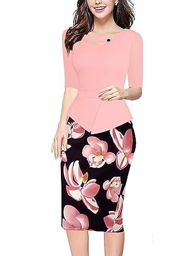 Destinas Womens Elegant 3/4 Sleeve Chic Bodycon Office Pencil Dress