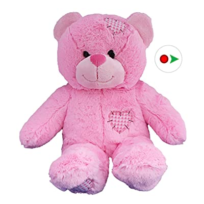 Stuffems Toy Shop Record Your Own Plush 16 inch Pink Patches Teddy Bear - Ready to Love in A Few Easy Steps: Toys & Games