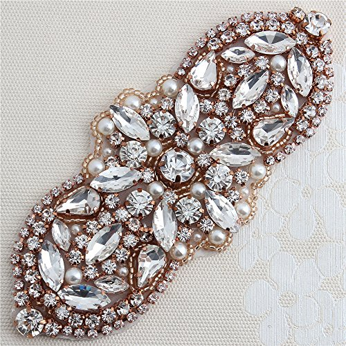 Rose Gold Rhinestone Applique with Clear Crystals and Pearls for Dress Shoes (Embellished Rose)