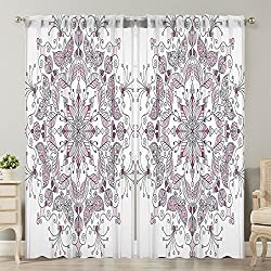 Moslion Window Curtain Purple Mandala Lacy Pastel Floral White Light Pink Window Curtains/Panels for Bedroom/Living Room Satin Drapes Light Reducing 2 Panels 108Wx84L Inch
