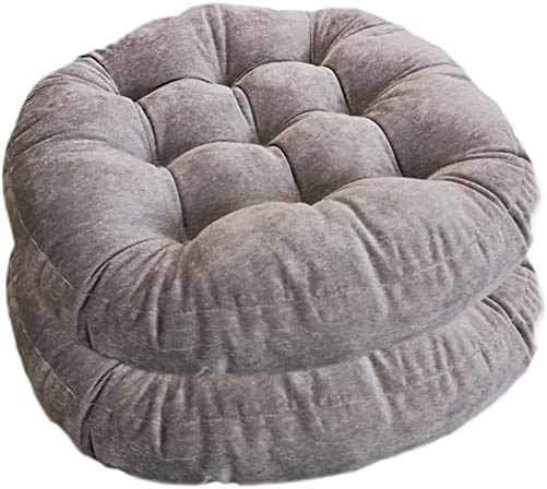 wongbey Outdoor Floor Pillow Round Seat Cushions for Seating on Floor Solid Thick Tufted Cushion Elastic Cushion Yoga Living Room Sofa Balcony Set of 2 Grey