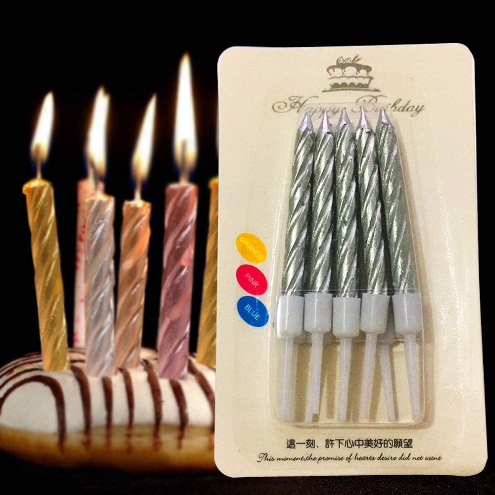 Design Design Metallic Birthday Candles Silver 756-07879