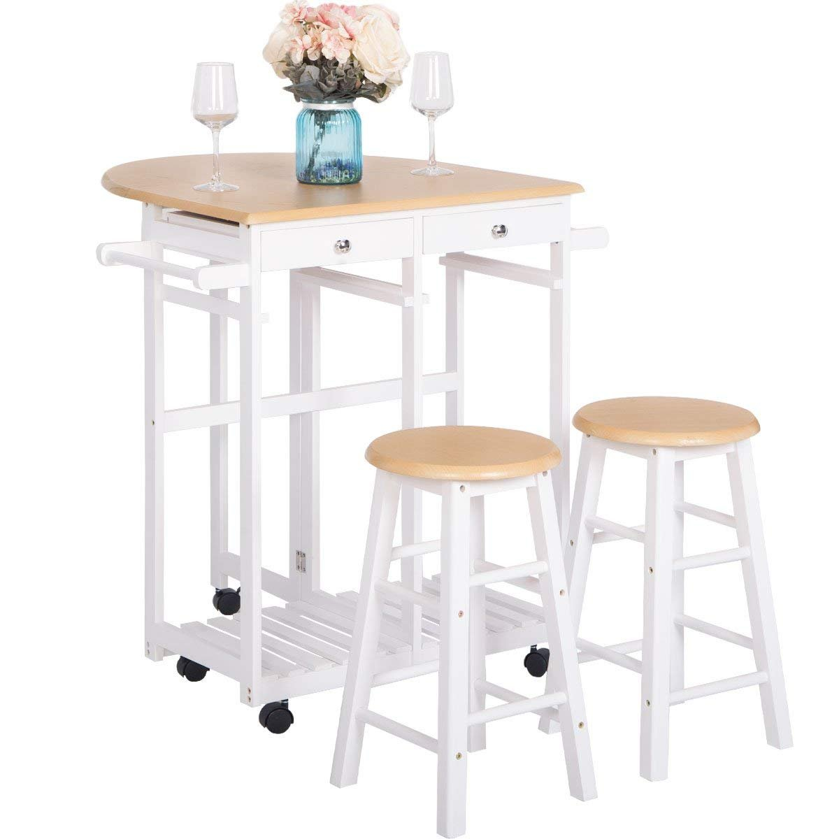 Harper & Bright Designs Kitchen Island Cart Folding Top Drop-Leaf with 2 Stools (White Natural)