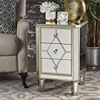 Sohan Silver Finished Mirrored 3 Drawer Cabinet with Faux Wood Frame