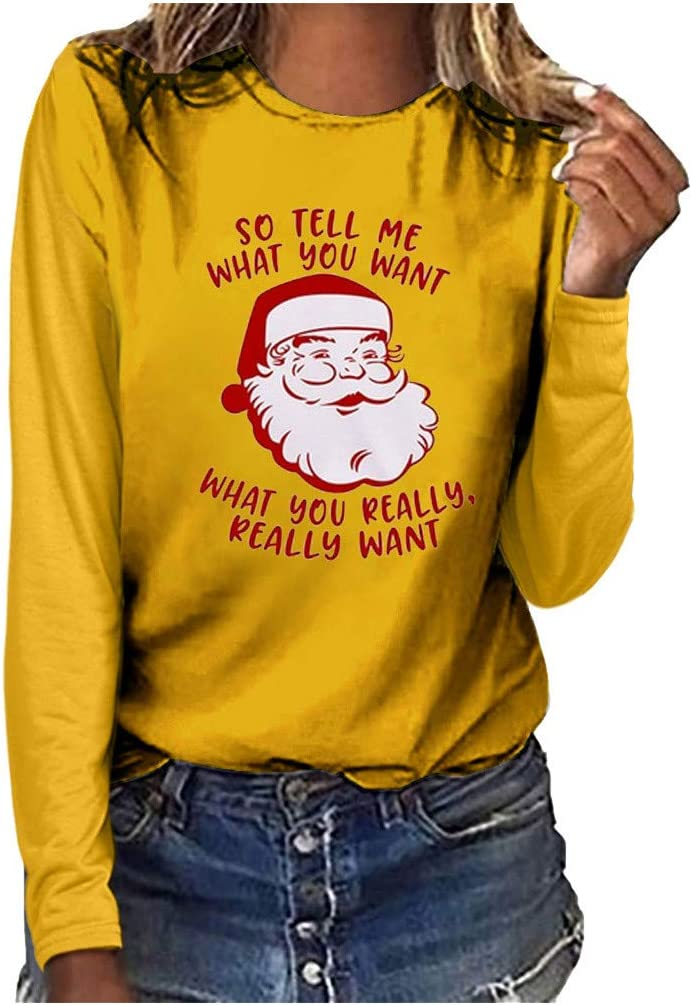 Funny Christmas Shirt Santa So Tell Me What You Want T-Shirt Xmas Sweater Plus Size Tops Futurelove ⭐ Womens Blouse