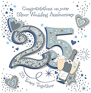 Handmade Silver 25th Wedding Anniversary Greeting Card By Talking Pictures Cards