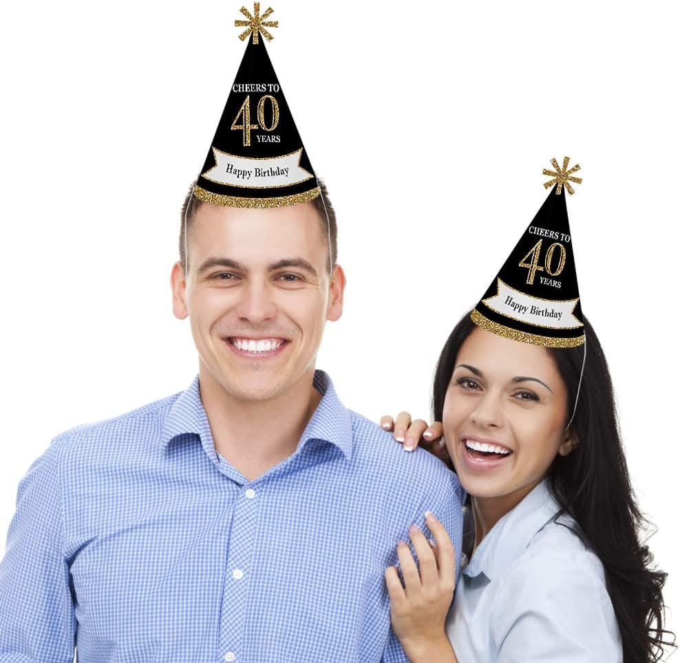 Gold Adult 40th Birthday Set of 8 Standard Size Cone Birthday Party Hats for Kids and Adults
