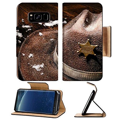 Lawman Badge - MSD Premium Samsung Galaxy S8 Plus Flip Pu Leather Wallet Case American West Legend wet and worn vintage lawman cowboy hat with law enforcement sheriff star badge on an antique wood plank tabl