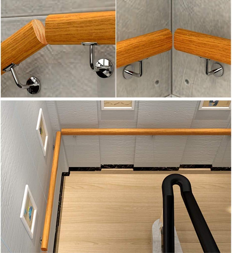 Pasamanos de la escalera de madera Barandilla antideslizante montada en la pared de la barandilla de la mano, barra de madera de pino industrial de DIY con hierro del metal del cromo