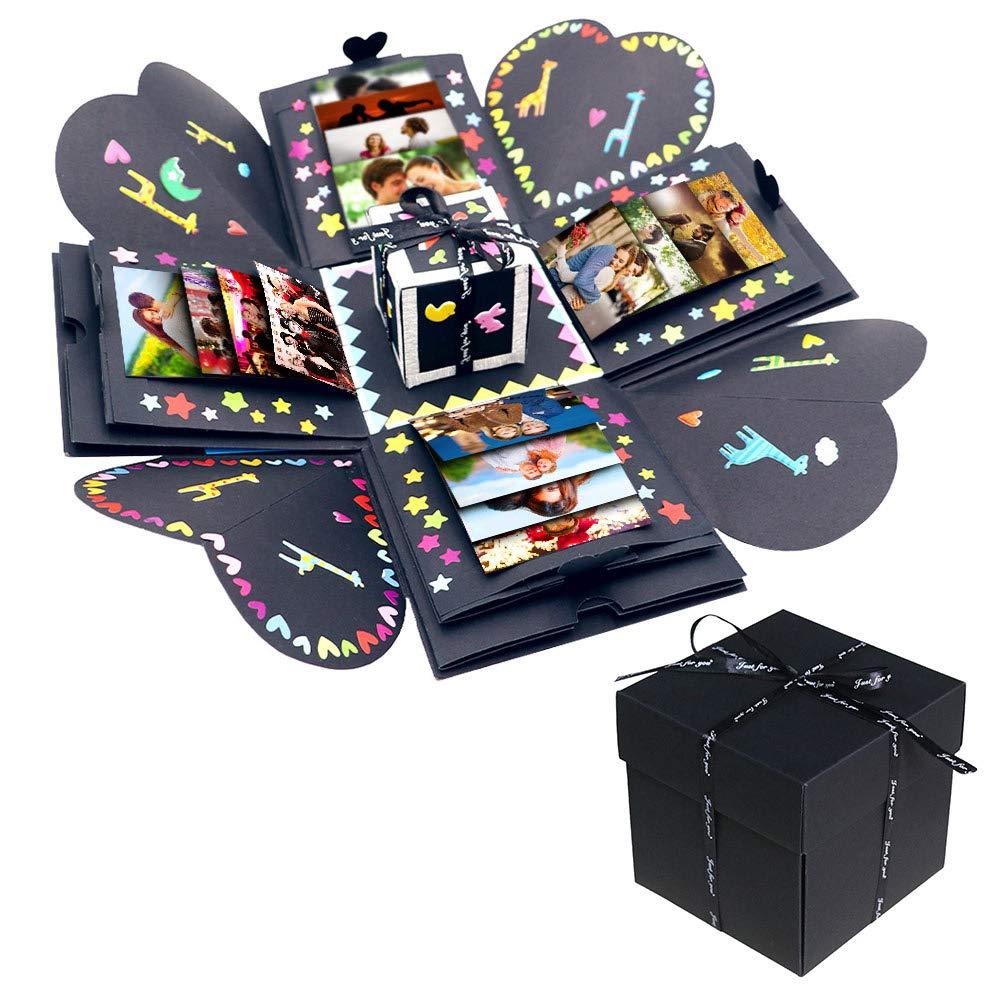 AerWo Creative Explosion Box Scrapbook DIY Photo Album Gift Box with DIY Accessories Kit, as Birthday, Anniversary Valentine Wedding Gifts, Black