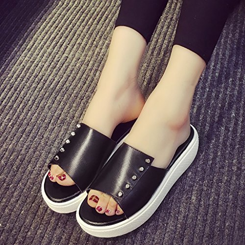 240mm Size EU38 Non Fashion wild 5 sandals and Thick Female summer slip White PENGFEI UK5 bottom Black white Color black L slippers RqaWZ