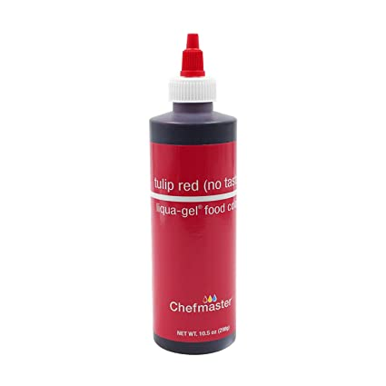 Chefmaster by US Cake Supply 10.5-Ounce Liqua-Gel Cake Food Coloring Tulip  Red (No Taste)