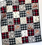Baby Boy Quilt Patchwork Buffalo Plaid Woodland Animals Handmade