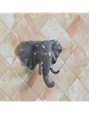 Hot Sale!DEESEE(TM)🌸🌸Lovely Elephant Head Self Adhesive Wall Door Hook Hanger Bag Keys Sticky Holder (Gray)