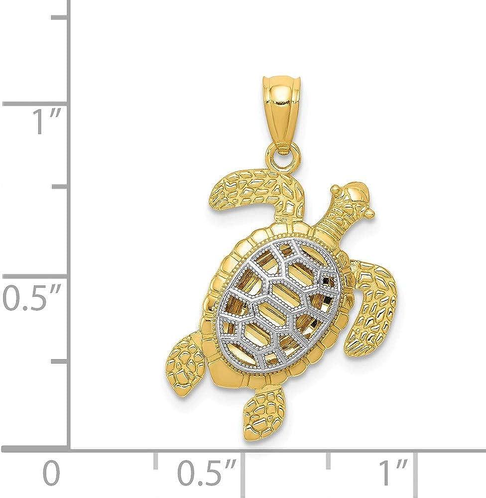 14k White Gold D//C Polished Sea Turtle Pendant