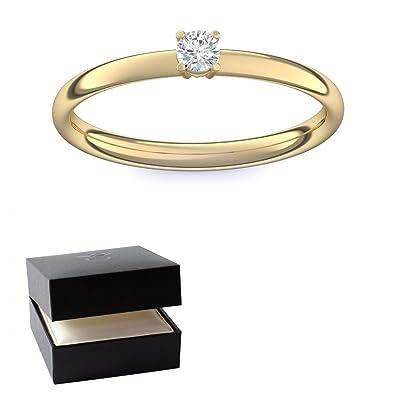 Goldring mit stein  Gold Ring Verlobungsringe Gold (Silber 925 hochwertig vergoldet ...
