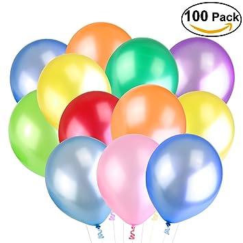 NUOLUX 100pcs 12-Inch 2.8g Multicolores Globos de Decoración perla que los globos con 1 Inflador 6 Rolls rizaron las cintas para el cumpleaños: Amazon.es: ...