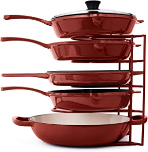 Pan Organizer for Cast Iron Skillets, Griddles and Pots - Heavy Duty Pan Rack - Holds Up to 50 LBS- Horizontal or Vertical Use - Durable Steel Construction - Red 12.2 Inch - No Assembly Required