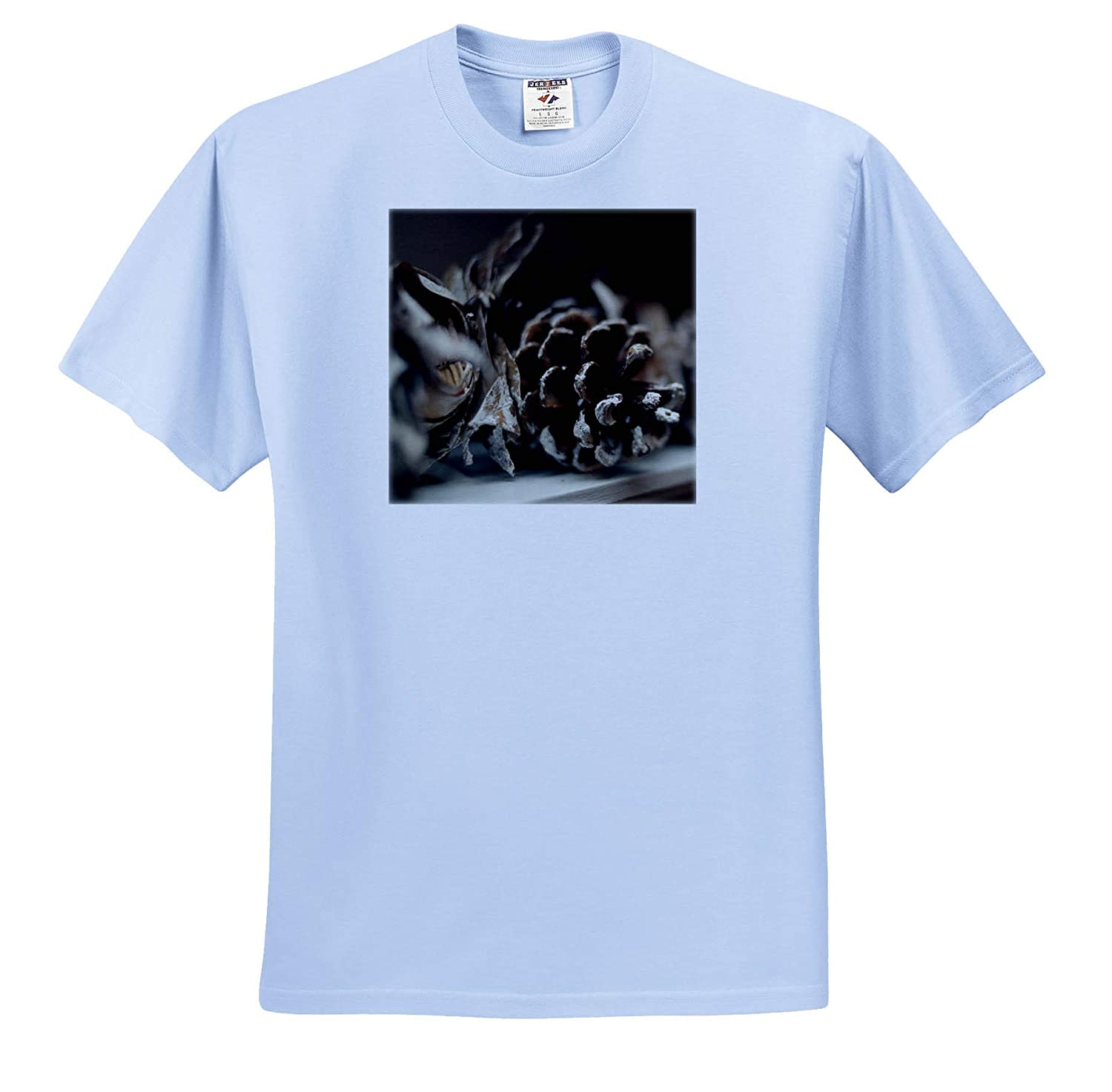 - T-Shirts Photo of Snow Covered Pinecone Garland adorning Our Fireplace Mantle Still Life 3dRose Stamp City