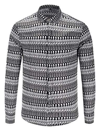 - PIZOFF Mens Long Sleeve Skeleton Print Dress Shirt Casual Button Down Shirts AL082-89-S
