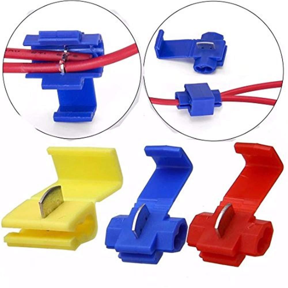 HonsCreat 125 Solderless Quick Splice Snap Wire Connector, 50 pcs red 22 through 18 Gauge,50 pcs blue 16 through 14 Gauge,25 pcs yellow 12 through 10 Gauge by HonsCreat
