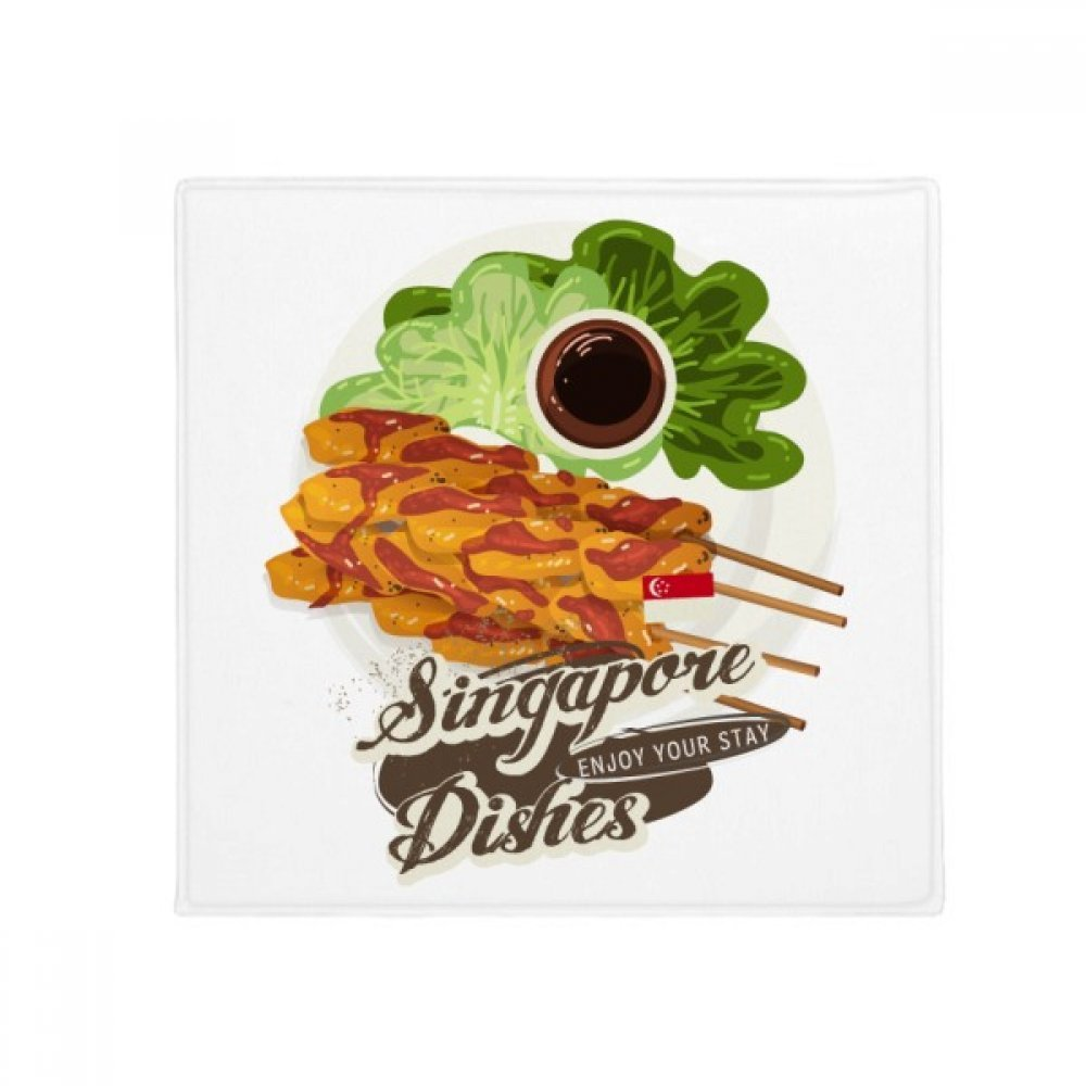 DIYthinker Traditional Singapore Satay Dish Anti-Slip Floor Pet Mat Square Home Kitchen Door 80Cm Gift