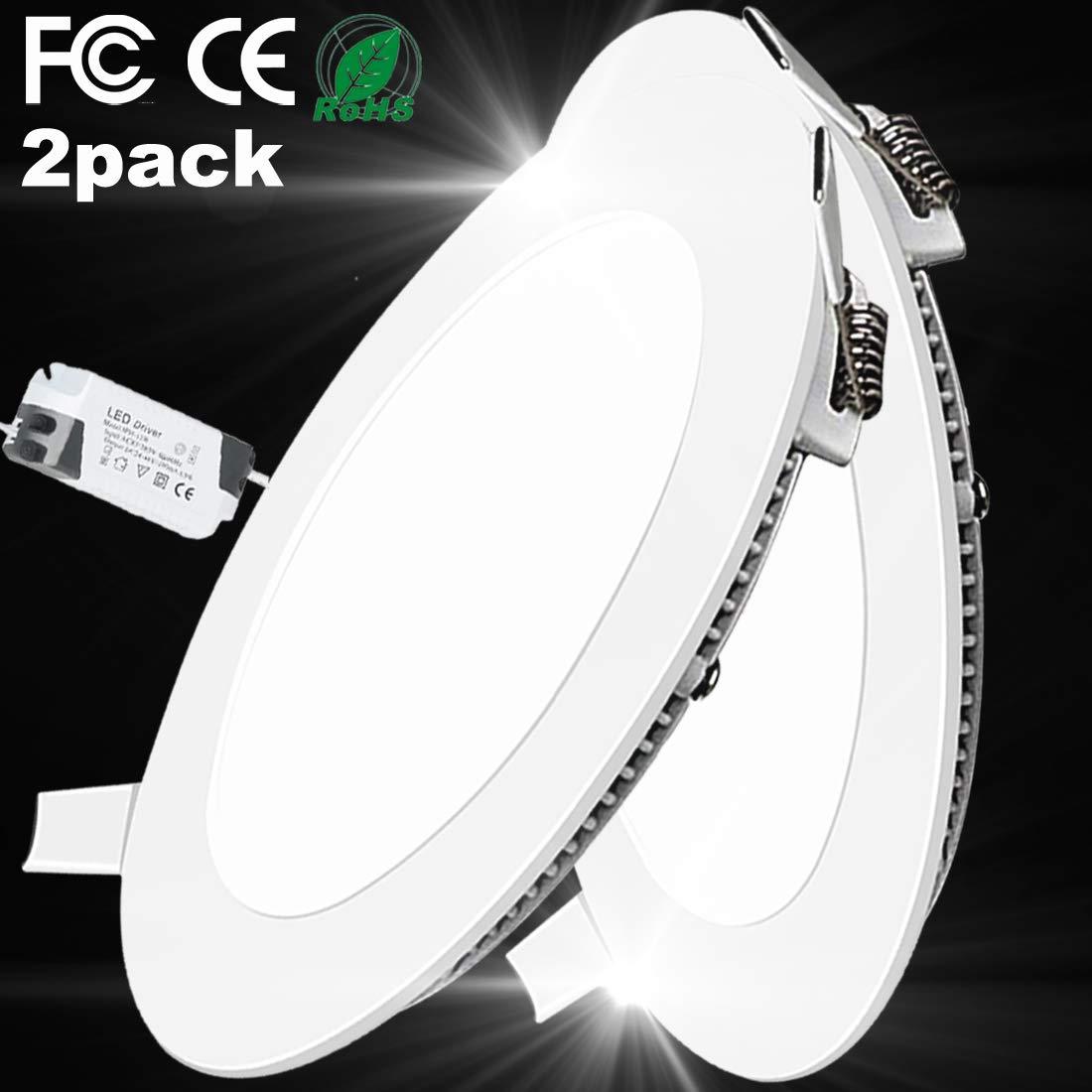 2PACK LED Deckenleuchte LED Panellampe Einbaustrahler Einbauleuchten Round 3W 3000K Warm White LED Downlight Ultra schlanke Lampe Scheinwerfer f/ür K/üche Bad Gang Lochgr/ö/ße 7.5CM