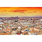 Pitaara Box Aerial View Of Valencia, Spain Unframed Canvas Painting 42.1 x 28inch