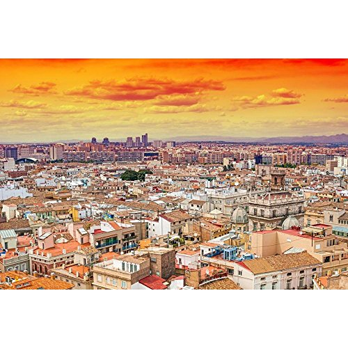 Pitaara Box Aerial View Of Valencia, Spain Unframed Canvas Painting 42.1 x 28inch by Pitaara Box