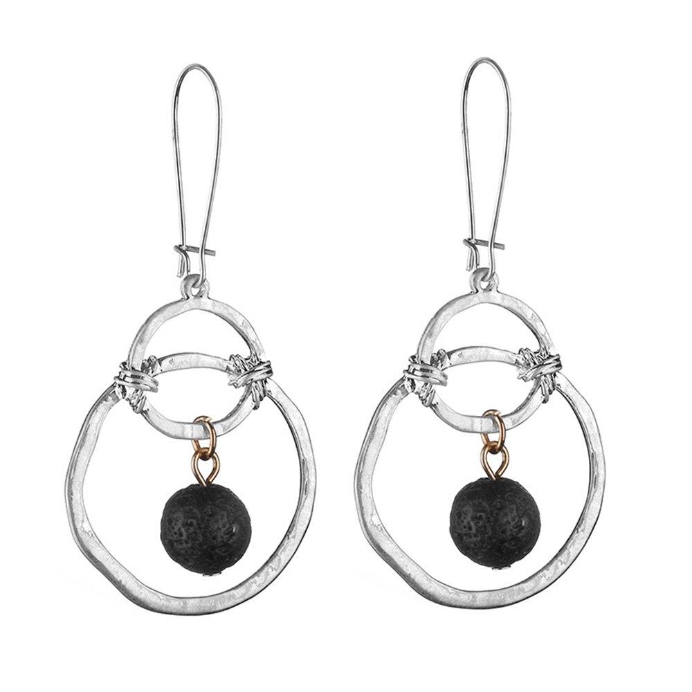 J Meng New Volcanic Rock Silver Circle Metal Earrings European Style Black Volcanic Stone Earring