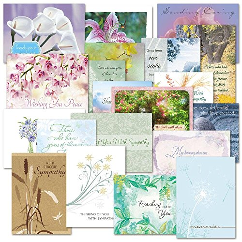 - Mega Sympathy Greeting Card Value Pack- Some With Metallic Foil Print,Set of 40 (20 designs), Large 5