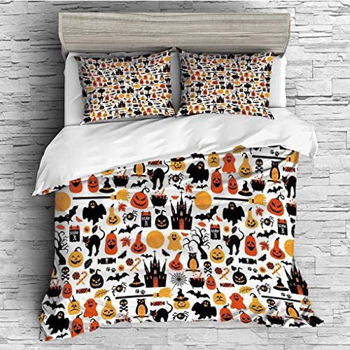 (3 Pieces (1 Duvet Cover 2 Pillow Shams)/All Seasons/Home Comforter Bedding Sets Duvet Cover Sets for Adult Kids/Double/Halloween,Halloween Icons Collection Candies Owls Castles Ghosts October 31)