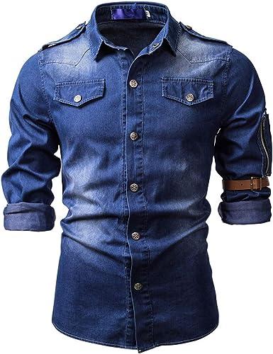 Allthemen Camisa casual de los hombres de mezclilla lavada camisa de vestir cuello de solapa camisa militar de manga larga
