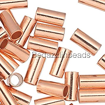6mm x 3mm 100 Pure Copper Crimp Tube Beads Findings for Ending Beading Cord /& Wire Ends