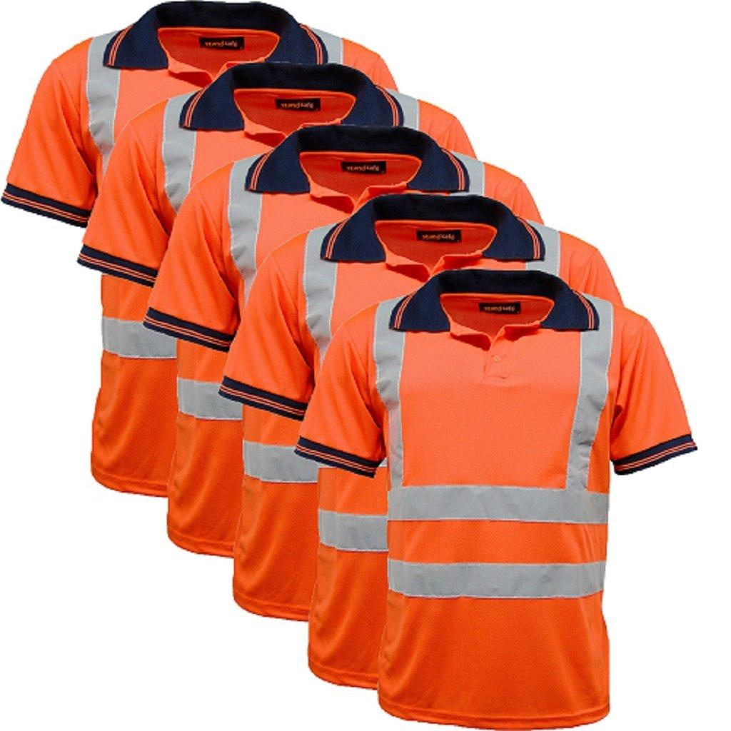 5 Pack Polo Shirts Hi Vis High Viz Visibility Short Sleeve Safety Work-wear Shirt by Standsafe (Image #2)