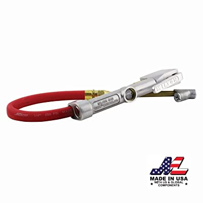 "Milton (S-516) Straight Foot Chuck Tire Inflator Gauge - 15"" Hose, Lock-On Threads: Automotive"