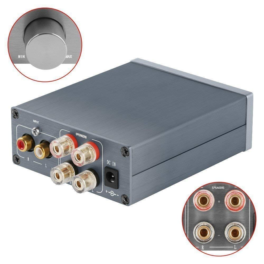 2 Channel Stereo Audio Class D Amplifier Mini Hi-Fi Professional Digital Amp for Home Speakers 50W x 2 - V1.0G