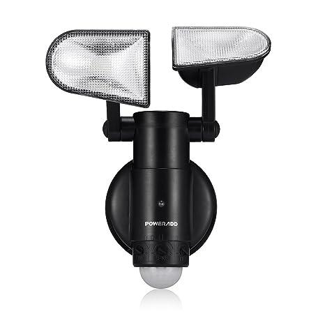 Poweradd Lámpara LED Sensor de Movimiento con 2 Luces Adjustables (8 LEDs) para Exterior