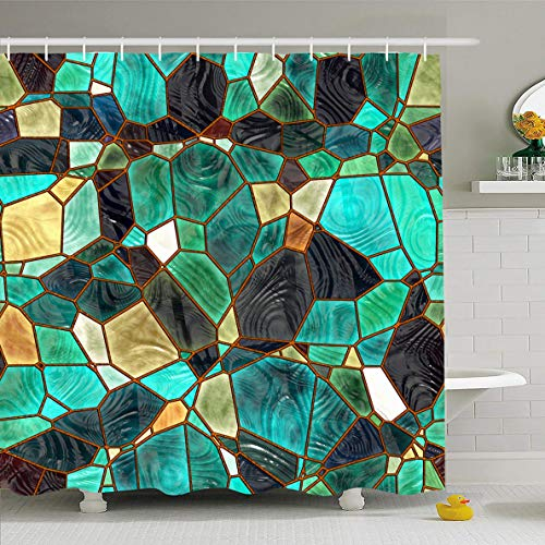 - Ahawoso Shower Curtain 72x72 Inches Green Lead Blue Stained Glass Pattern Abstract Church Continuous Emerald Turquoise Virid Window Waterproof Polyester Fabric Set with Hooks