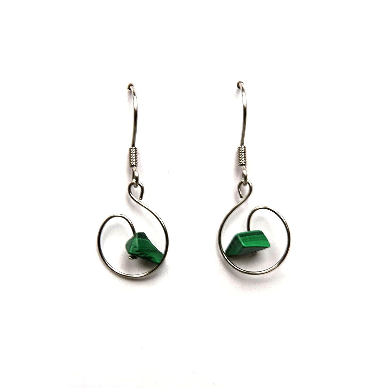 Malaquita joyas minimalista, minimalista Malaquita, piedras naturales joyas pendientes pendientes piedras preciosas finas