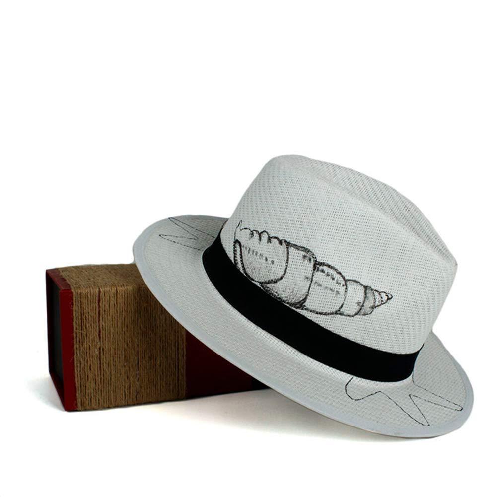 Unisex Fashion Sun Hat Summer Straw Beach Panama Hat with Wide Brim Homburg Jazz Hat