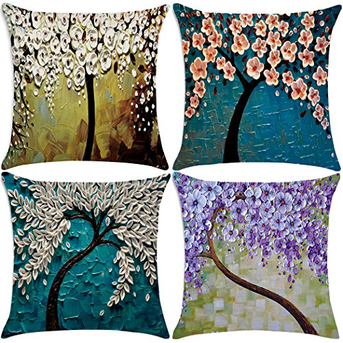 Oil Painting Print Polyester Throw Pillow Case Cushion Cover Home Sofa Decorative 18 X 18 Inch (4 Pack Pillow Case Style 1) (Oil Cloth Pillows)