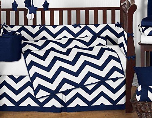 Navy Blue And White Chevron Zig Zag Unisex Baby Bedding